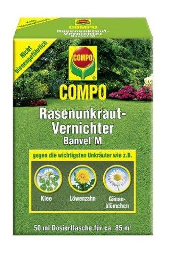 COMPO Rasenunkraut-Vernichter Banvel® M, Rasenherbizid auch gegen schwer bekämpfbare Unkräuter im Rasen, 50 ml