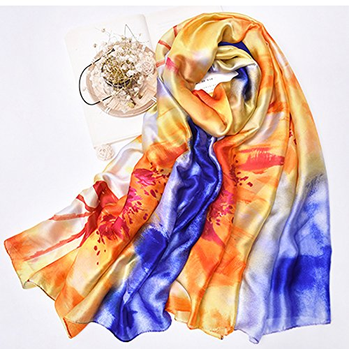 YRXDD Beach towel dual summer sun shawl printed satin long scarf wild shawl scarf (95 * 190cm), sunset sunset