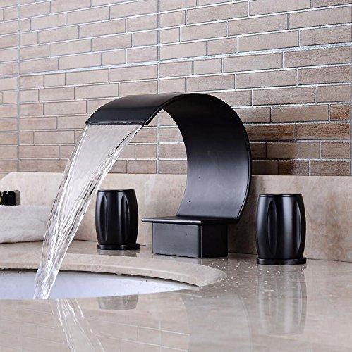 Küchenarmatur Waschtischarmatur mit Regulierung Bathroom black toilet faucet split three-hole wash basin faucet double valve control hot and cold mixing bathtub faucet -