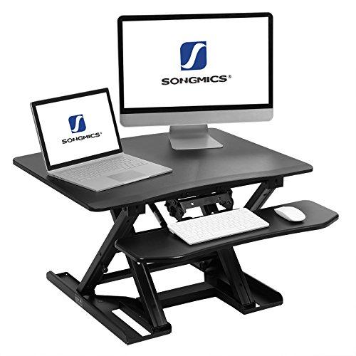 SONGMICS Sitz-Steh-Schreibtisch höhenverstellbarer Aufsatz Laptop-Ständer Monitorständer Schnell...