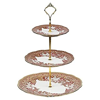 ARIANA© 3 Tier Vintage Floral Ceramic Display Cake Stand A-2 Golden Peach Floral