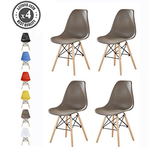 Mcc Set of 4 Modern Design Dining Chair Retro Lounge Chairs, LIA (Grey)