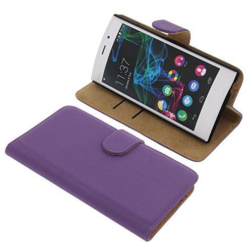 Tasche für Wiko Ridge Fab 4G Book Style lila Kreditkarte Schutz Hülle Buch