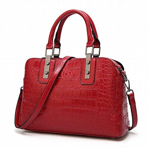 Fashion Handtaschen Krokodil Muster Handtasche Schultertasche , rot - Rot Krokodil Handtasche