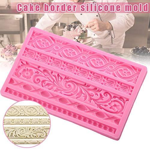 Bricolaje Barroco Alivio Borde Pastel Molde Decoración Tartas Silicona Fondant Herramientas Chocolate Molde Caramelo