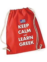 HippoWarehouse Keep calm and learn Greek Drawstring Cotton School Gym Kid Bag Sack 37cm x 46cm, 12 litres