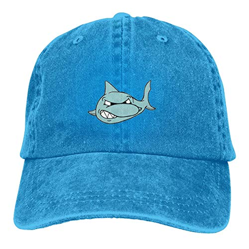 Naiyin Unisex Adult Scary Shark Fierce Washed Denim Cotton Sport Outdoor Baseball Hat Adjustable One Size