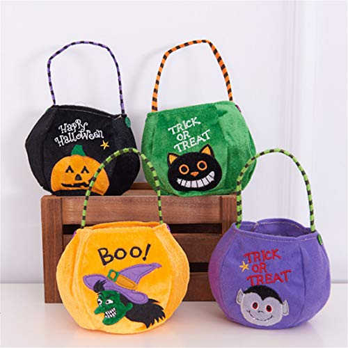 VJUKUBWINE Halloween Tragbare Stofftasche Ghost Festival Kinder-Dekoration Requisiten Spielzeug Dress up Accessoires Kürbis Beutel Geschenktasche Candy Bag Requisiten Tasche 4 Pack