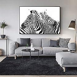 RTCKF Motif Animalier Ligne Noire et Blanche sur Toile Art Peinture sur Le Mur Abstrait Affiche Murale zèbre Animal et Impression Photo décoration Murale Maison (Pas de Cadre) A1 60x90CM