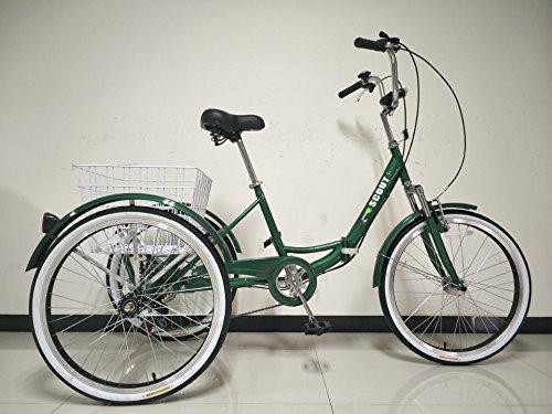 SCOUT® TRIKES - Triciclo para adultos, marco plegable con suspensión, ruedas de 24 pulgadas, marchas Shimano de 6 velocidades, Verde oscuro