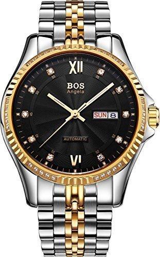 Angela bos self-wind mecánico automático para hombre dorado funda muaré Reloj de Muñeca Esfera de color negro banda de acero inoxidable