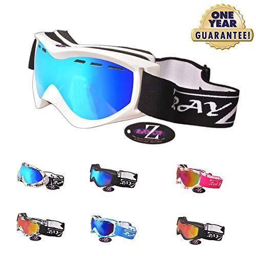 Rayzor professionnels UV400 doubles lensed ski / snowboard Lunettes, avec un cadre blanc et un anti brouillard Bleu Iridium Ventilé miroir anti-éblouissement large clarté de vision Lens.