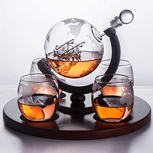 JYKJ Whiskey Decanter Acquaforte Set 4 Bicchieri di Vino con Le Ultime Mensole di Legno, for Le Vacanze Regalo Perfetto Decanter Set Scotch Whisky Deck