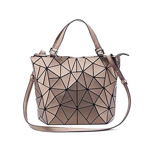 CHENC Paillette Tasche Für Frauen, Lighweight Große Kapazitäts-Geometric-Strand-Tasche Reflektierende Farbe PU Tragetaschen,Gold