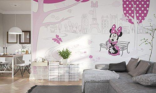 Komar - Disney - Vlies Fototapete MINNIE IN PARIS - 400x250cm - Tapete, Wand Dekoration, Minnie Maus, Schleife -023-DVD4