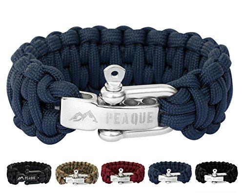 PEAQUE Survival Armband aus Paracord - inkl. eBook - Verstellbarer Edelstahlverschluss - breites Überlebens-Armband aus echter Fallschirmschnur (dunkel-blau)