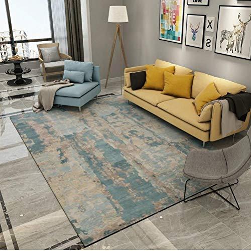 YXNN Moderner Bereich-Teppich - Kunstdruck Und Färben Wohnzimmer-Teppich Schlafzimmer-Dekoration Bodenmatte Couchtisch Decke Rechteckige Kinderspielmatte (Farbe : Blau, größe : 160x230cm) -