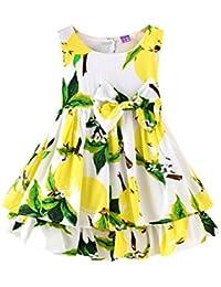 Free Fisher Kinder Mädchen Prinzessin-Kleid Sommerkleid ärmellos mit Schleife