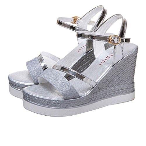 EOZY-Sandali con Zeppa Tacco Scarpe Donna Ragazza Glitter Punta Aperta Scarpe Piattaforma Argento