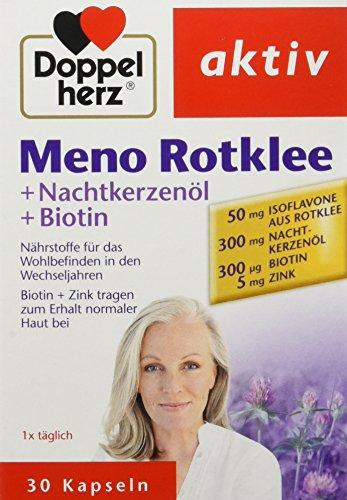 Doppelherz Meno Rotklee | Nährstoffe für das Wohlbefinden in den Wechseljahren | Mit Biotin und Zink | 1 x 30 Kapseln (Frauen Kapseln 30)