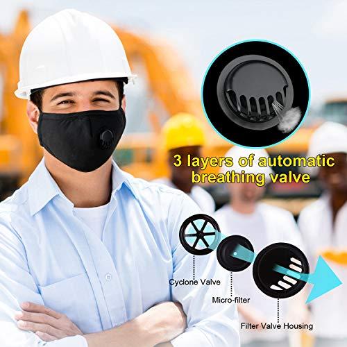 5 unidades Máscara antipolvo Lulalula N95,  máscara anticontaminación,  ajuste de puente nasal,  máscara PM2.5 para hombres y mujeres,  color negro