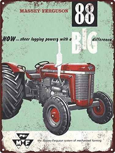 RABEAN Massey Ferguson 88 Tractor Farm Póster de Pared Aluminio Metal  Creativo Placa Decorativa Cartel de Chapa Placas Decoración Hogar Estar