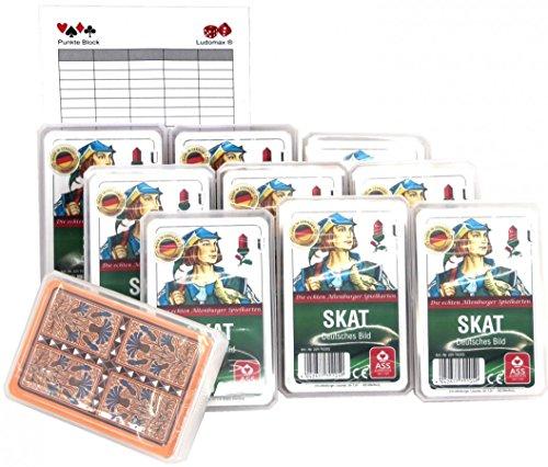 Ludomax SKAT, Deutsches Bild Spielkarten Zehnerpaket von ASS im Set Block