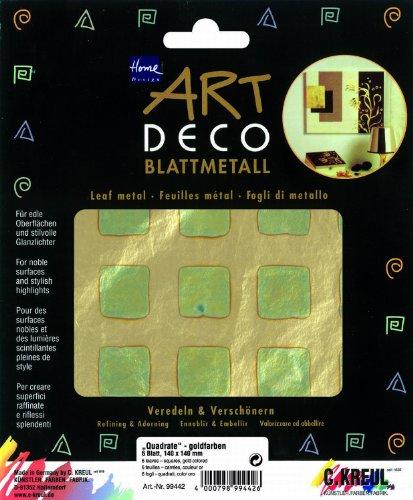 Kreul 99442 - Art Deco Blattmetall Quadrate, 140 x 140 mm, 6 Blatt