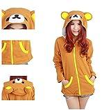 Casa Unisex Cartoon Jacke Pyjama Tieroutfit Seitentaschen Reißverschluss Mit Kapuze Tier Cosplay Sweatshirt Halloween Kostüm Hoodies Bär(XL, Bär) -