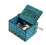 MINSOTO Caja de música de Madera Tallada a Mano, diseño de la Leyenda de Zelda (Azul)