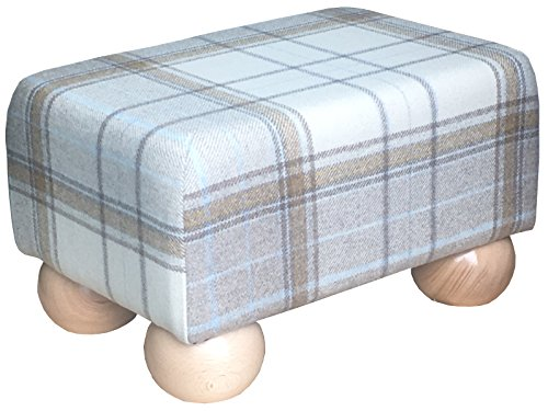 Footstools2u Fußhocker, klein, Schottenkaro, dunkle Holzfüße, Holz, Natur, 330mmx230mmx200mm -