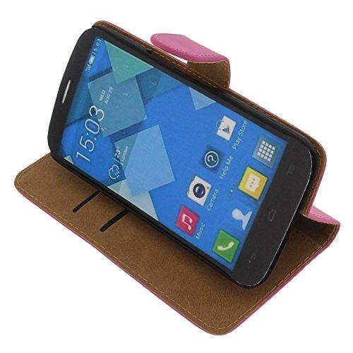 foto-kontor Tasche für Alcatel One Touch Pop C9 Book Style pink Kreditkarte Schutz Hülle Buch