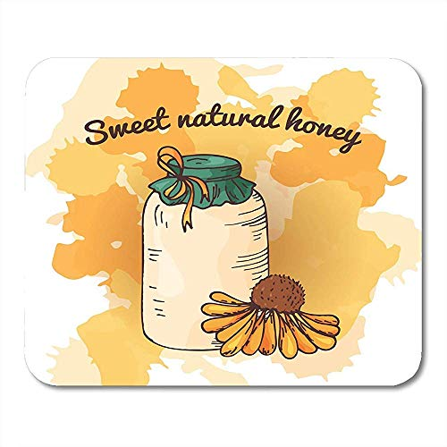 Mausunterlage Bienen-Bienenhaus-Skizze Süße Naturkost-Honig-Produktions-Mausunterlage