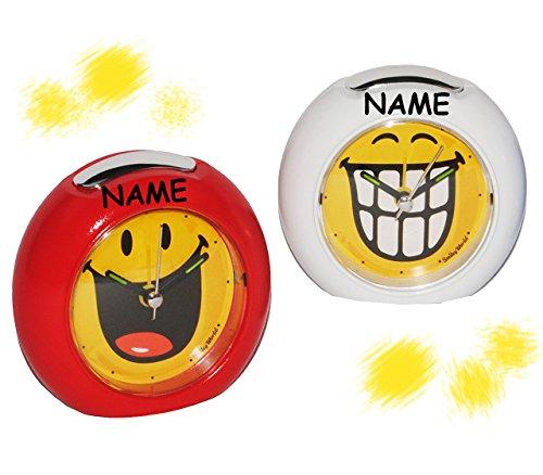 (Unbekannt lustiger Smiley Wecker incl. Namen - für Kinder + Erwachsene - mit LICHT - Kinderwecker lustig - mit Alarm für Mädchen und Frauen - Analog Gesichter Smile Emo..)