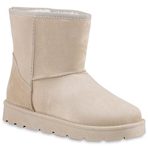 Damen Stiefeletten Stiefel Kunstfell Schlupfstiefel Boots Creme