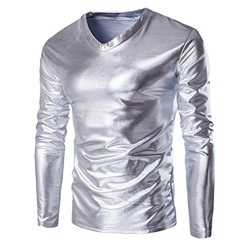 Bekleidung Herren AMUSTER Herren Langarm T-Shirt Einfarbige T-Shirts mit V-Ausschnitt Slim Fit Bluse Metallic glänzend Top Mode Oversize Herren T-Shirt Top Tee Outwear M-5XL (2XL, Silber) -