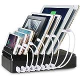 Estación de carga Upow 8 puertos USB, puertos cargadores [68W/2.4A Max] Plataforma multi-dipositivo organizadora de escritorio. Rápido y directo cargador de smartphones y tablets