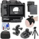 Nikon WP-AA1 Waterproof Case For KeyMission 170 Action Camera With EN-EL12 Battery & Charger + Handlebar & Hand/Wrist Mount + Case + Tripod Kit