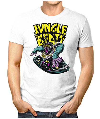 PRILANO Herren Fun T-Shirt - JUNGLE-BEATS - Small bis 5XL - NEU Weiß