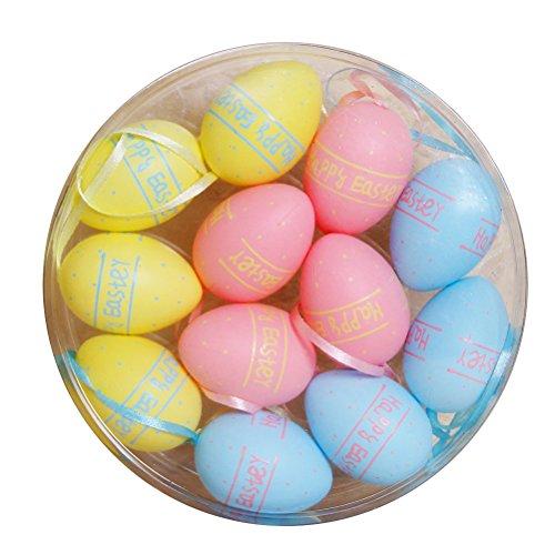 Oulii 12pcs buona pasqua di plastica uova finte uova di pasqua giocattoli per bambini home decorazione accessori