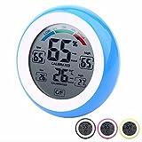 GAOHOU® Runder Touchscreen Digital LCD Thermometer Hygrometer Temperatur-und Feuchtigkeitsmesser Wecker Blau