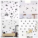 WandSticker4U®- Wandtattoo 60 Sterne zum kleben | schwarz/silber/gold | Wandsticker Sternenhimmel Aufkleber Deko für Babyzimmer Kinderzimmer Möbel Wohnaccessoires
