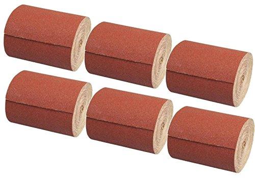6 x Rolle Schleifpapier Kunstharz Schleifmittel Korn 40-60 - 80-120 - 180-240 Länge 10 m/Breite 115 mm