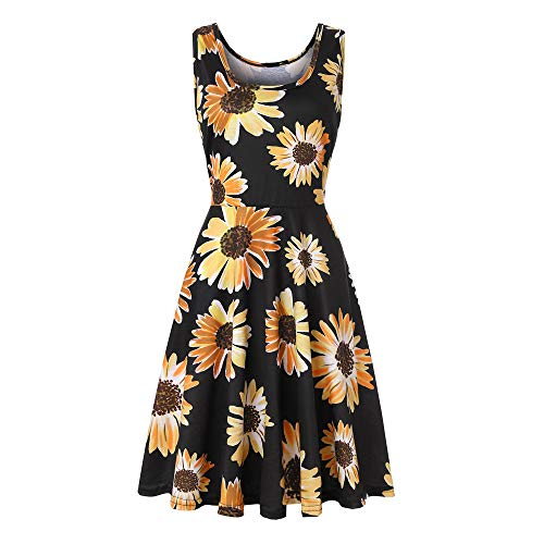 XuxMim Damen Sommerkleid Casual Chiffon Taste Kurzarm Krawatte Taille Polka Dot Einfarbig Strand Mini Shirt Kleid(Schwarz-3,Small)