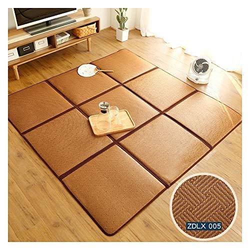 Tatami-matte (DUHUI Faltspleißmatte, Rattan Matte Tatami Matte Schlafzimmer Baby Teppich Kinder Puzzle Krabbeldecke (Zwei Raster 65 * 130cm))