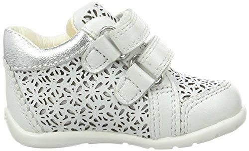 Geox  B KAYTAN D, chaussures premiers pas bébé Blanc (White/Silverc0007)