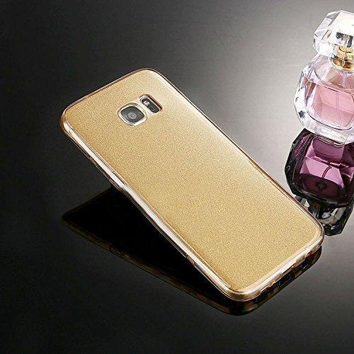 Samsung Galaxy S7 Edge Cover,Samsung Galaxy S7 Edge Custoida,KunyFond Cover Custodia per Samsung Galaxy S7 Edge in Silicone Diamante Bling Glitter Custodia Cover Moda Lusso Placcatura Specchio Scintil oro