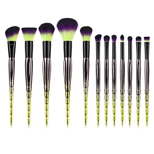 12pcs Multi-Net Makeup Brush Set para Corrector, Base, Mezcla, Colorete, Sombra de ojos, Cejas, Delineador de ojos y Pincel para labios (Color: Verde Negro, Tamaño: 20 * 13 * 6)