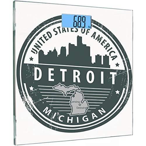 Ultra Slim Hochpräzise Sensoren Digitale Körperwaage Detroit Decor Gehärtetes Glas Personenwaage, Beschädigt Old Stamp of Michigan USA mit Stadtplan Ort Tourismus-Symbol Dekorativ, Schwarz -