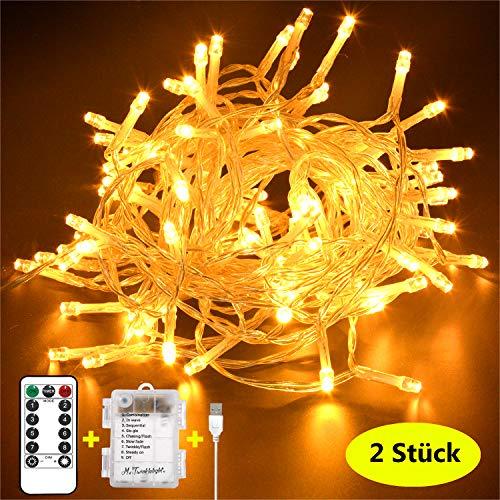 Mr.Twinklelight® LED Lichterkette, 2 Stück 54 LED Lichterkette USB/Batteriebetrieben 8 Modi Ideal für Christmas, Festlich,Geburtstag, Hochzeiten, Party Dekoration etc